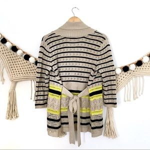 THE LIMITED Stripe Pointelle Open Cardigan Sweater